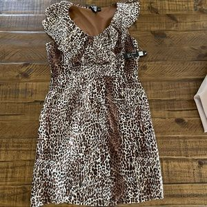 Milano leopard print ruffle top dress sz 8 NWT
